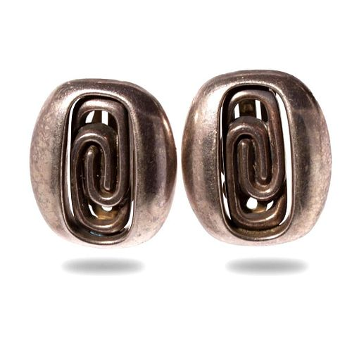 Barbara Bady Modernist  Sterling Clip Earrings C.1970