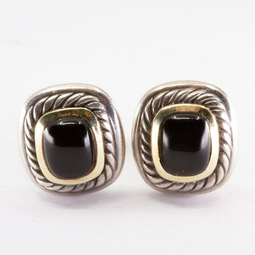 """GIA David Yurman sterling silver, gold and onyx """"albion"""" earrings"""
