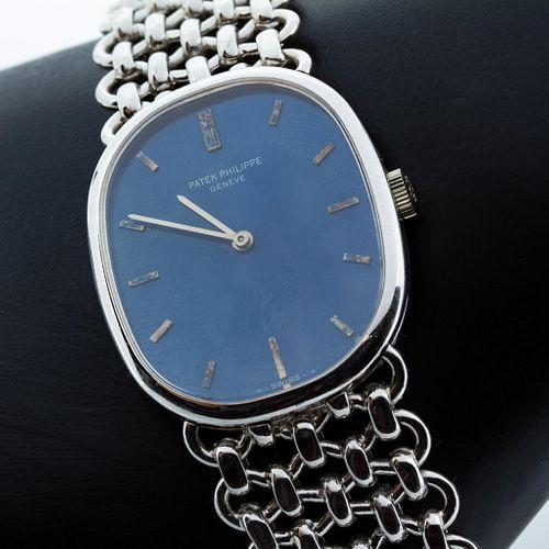 Vintage Circa 1972 Patek Philippe Golden Ellipse 18K White Gold Wristwatch