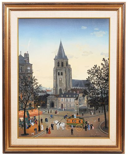 Michel Delacroix 'Saint Germain Des Pres' Oil on Canvas Painting