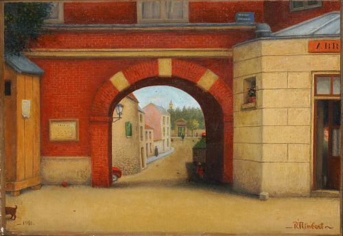 René Rimbert Oil Painting 'Entry To Town'
