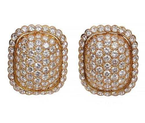 Cartier Pave Diamond & 18K YG Clip On Earrings