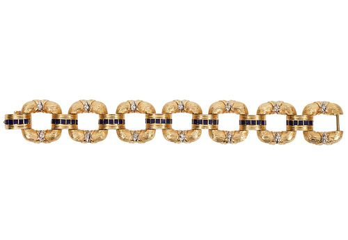 Diamond & 18K Yellow Gold Link Bracelet
