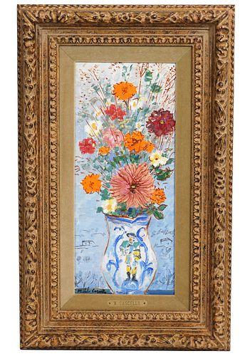 Michele Cascella 'Boquet with Ceramic Vase' O/B