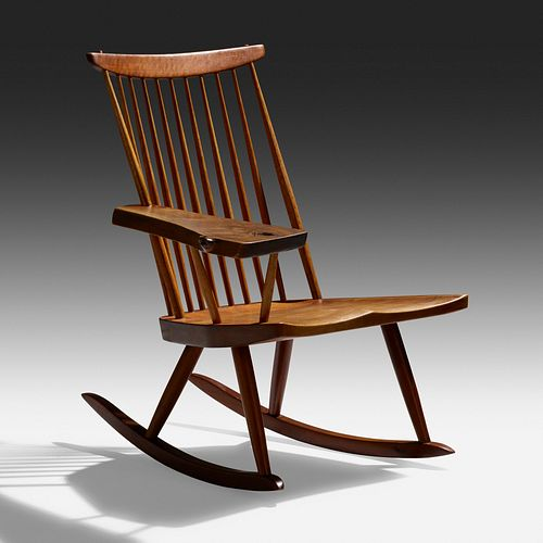 George Nakashima, Lounge Chair Rocker with Right Arm