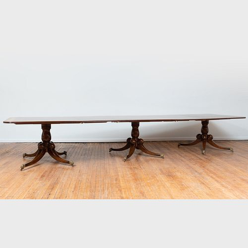 George III Style Inlaid Mahogany Triple-Pedestal Dining Table, of Recent Manufacture