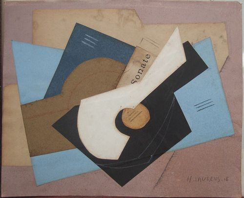 Henri Laurens   Still Life with Guitar  Collage on paper signed LR