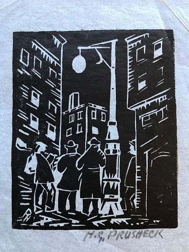City Scene, Woodcut by  Harvey Pruschek, Early Ohio Modernist