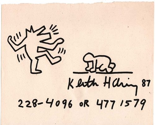 Keith Haring Baby & Dog Black Marker on Paper 1987