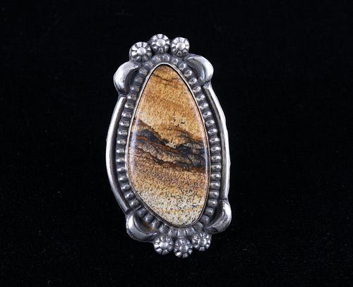Navajo B.Lee Mountain Picture Jasper Sterling Ring