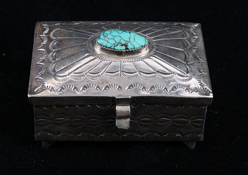 Navajo Stormy Mountain Turquoise Sterling Box