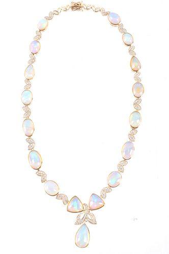 53.50 cts. Jelly Opal & Diamond 14K Necklace