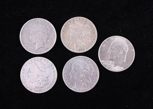 Four Morgan and One Eisenhower Silver Dollar Coins