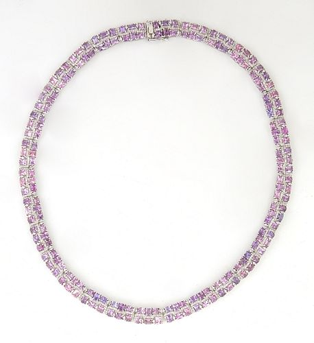 Lady's 18K White Gold Link Necklace, each of the 29 rectangular link with six emerald cut unheated pink sapphires, separated by rows of tiny round dia