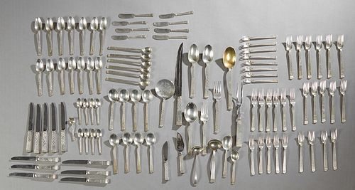 """One Hundred Five Piece Set of Tiffany Sterling Flatware, 1956, in the """"Harlequin"""" pattern, consisting of 15 salad forks, 14 teaspoons, 8 cold soups, 1"""