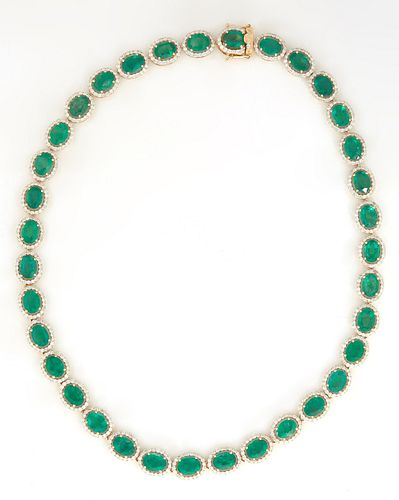 14K White Gold Link Necklace, each of the 35 links with prong set oval emerald atop a border of round diamonds, total emerald weight- 40.23 cts., L.-