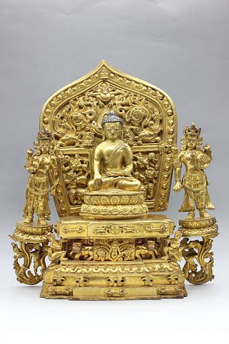 A Gild Bronze Statue of The Three Holy Buddhas