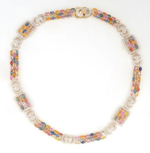 """14K White Gold Link Necklace, with six rectangular links with 17 oval multi-color oval sapphires, joined by 10 double """"D"""" diamond mounted links, to fo"""