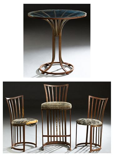 Four Piece Contemporary Wrought Iron Breakfast Set, 20th c., consisting of a glass top table, two canted slat back chairs and a bar stool, Stool- H.-