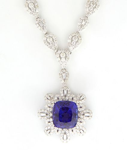 14K White Gold Pendant Necklace, with 30 marquise links transitioning to 24 diamond marquise links with central baguette or round diamonds, to a centr