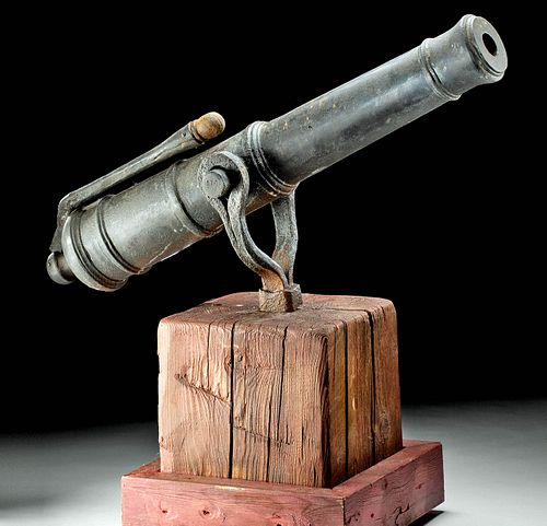 Late 18th C. Spanish Frontier Iron Cannon, Swivel Mount
