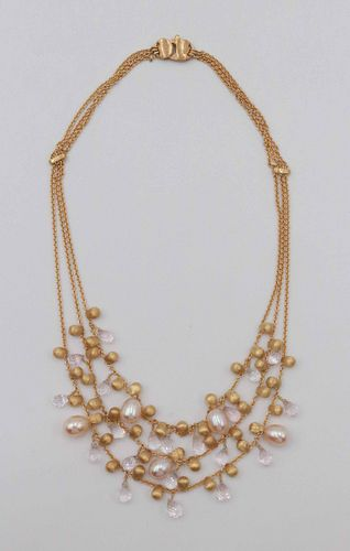 Marco Bicego 18 k Three Strand Pearl Necklace