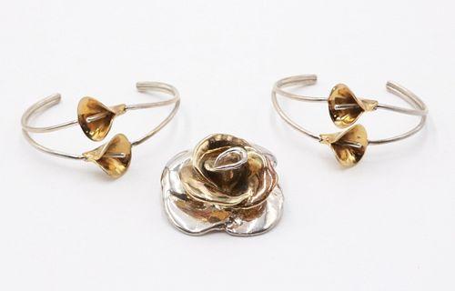 Rachel Gera Sterling Silver Flower Brooch