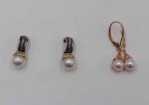 David Yurman 585 and 925 Pearl Earrings