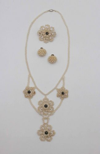 Victorian Knitted Seed Pearl Jewelry Suite