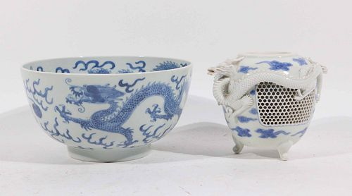 Qianglong Chinese Blue-and-White Bowl and Vessel