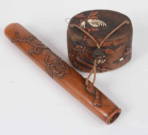 Japanese Carved Wood Wallet and Inro