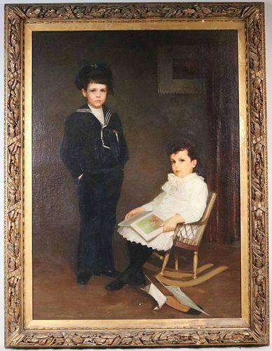 Oil on Canvas, W.W. Churchill, Two 19th C. Boys