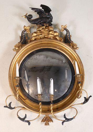 Regency Giltwood Dragon-Decorated Convex Mirror