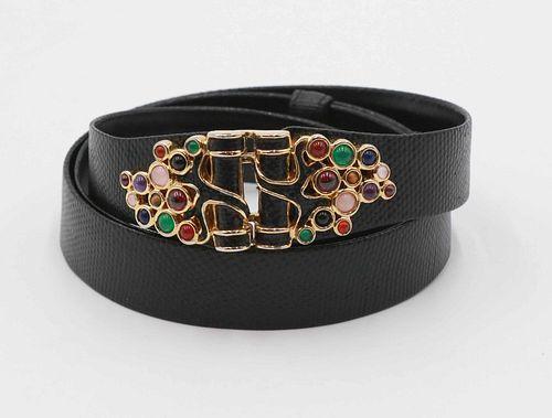 Judith Lieber Black Leather Belt