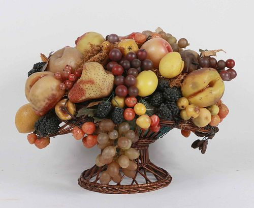 Large Wax Fruit Arrangement in Basket