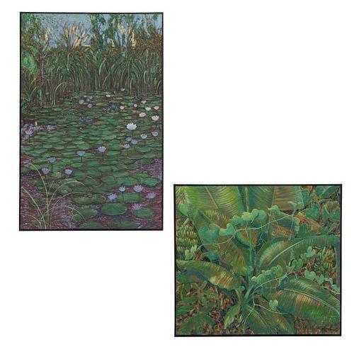 Gal Megraik. Lote de 2 obras. Consta de: a) Sin título Ácrilico sobre tela Enmarcado 93 x 102 cm. Otra.