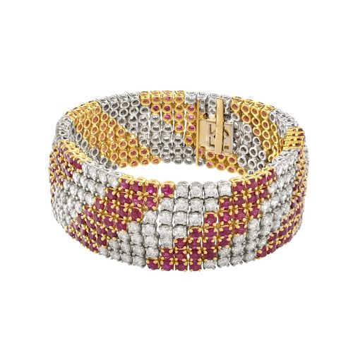 Diamond, Ruby and 18K Bracelet