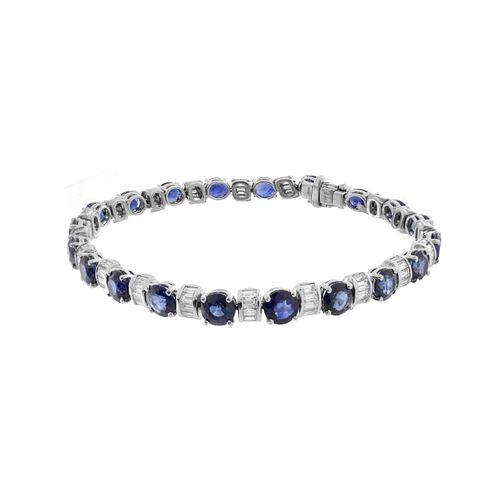 Sapphire, Diamond and Platinum Bracelet