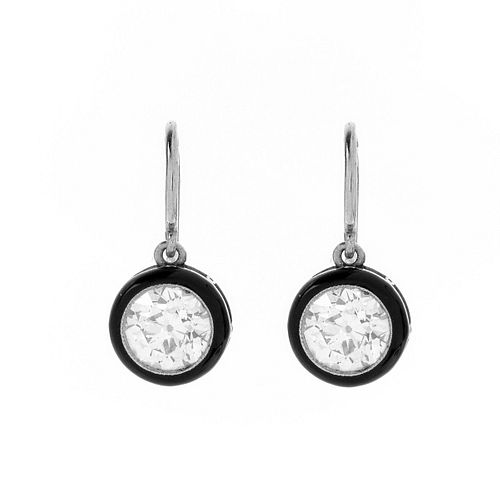 Diamond and Platinum Pendant Earrings