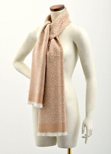 "Loewe Anagram Wool Shawl/Scarf, 72""L"