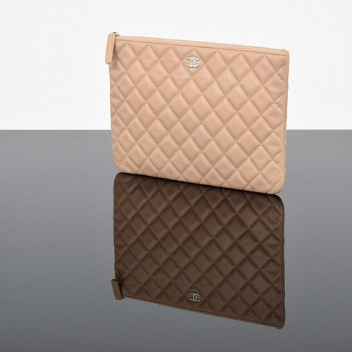 "Chanel Quilted Caviar Medium ""O Case"" Clutch/Pouch"