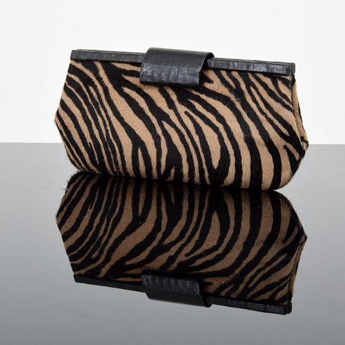 Nancy Gonzalez Crocodile Zebra-Print Frame Clutch