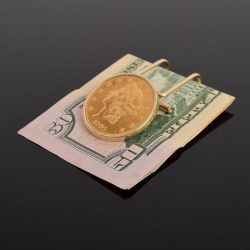 14K Gold Liberty Head Coin Money Clip