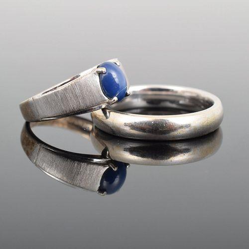 2 White Gold Rings, 10K/14K & Star Sapphire