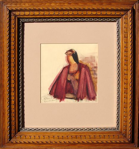 Art Deco Watercolor Portrait of A Woman in Fantastic Frame: Mancuso