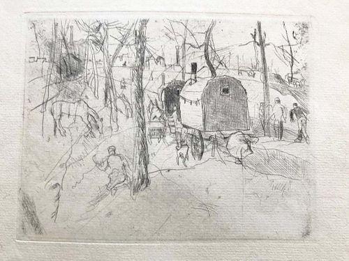 Beautiful Gypsy Camp & Wagon, etching, Rudolf Grossmann, Listed German
