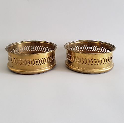 Pair of 19th Century Pierced Brass Wine Coasters