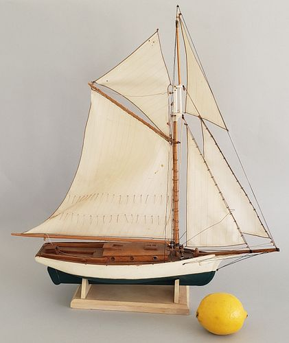 Vintage Hand Carved and Painted Miniature Catboat Pond Model