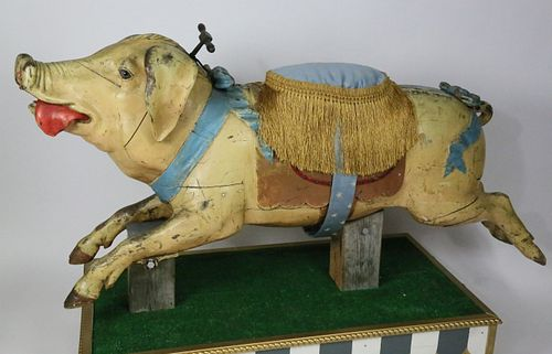 Gustave Bayol Carved and Painted Wood Carousel Pig