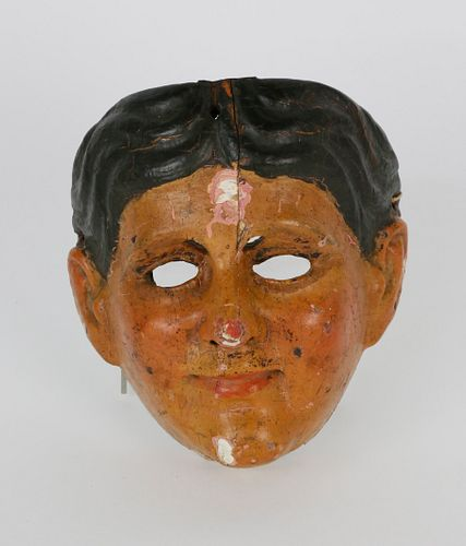 Guatemala Carved and Painted Mask Representing Spaniards, 19th Century